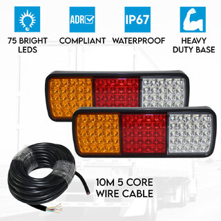 Elinz 2x LED Trailer Tail Lights Reverse Indicator Brake 10M 5 Core Wire Cable V90 PVC