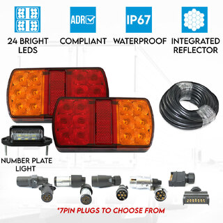 2x Trailer Tail Lights Kit License Number Plate Light 5 Core Cable 12V 7PIN Plug
