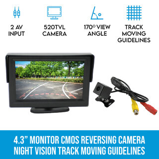 "Elinz 4.3"" Monitor CMOS Reversing Camera Rearview Night Vision Track Moving Guidelines"