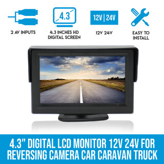 "Elinz 4.3"" Digital LCD Monitor 12V 24V for Reversing Camera Car Caravan Truck"