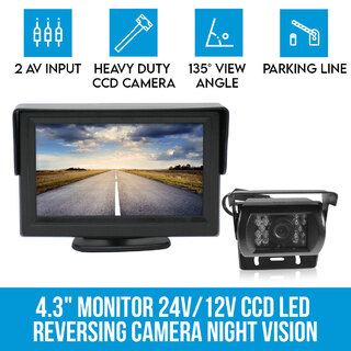 "4.3"" Monitor+24v/12v CCD LED Reversing Camera Car Caravan Truck Night Vision"