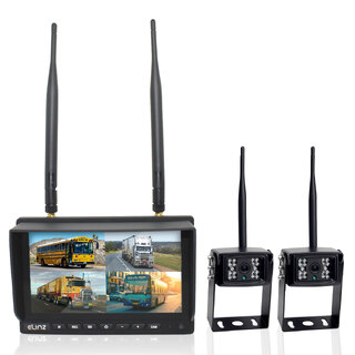 "Wireless 7"" Quad Monitor DVR 2x Reversing Camera Package"