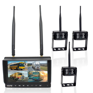 "Elinz Wireless 7"" Quad Monitor DVR 3x Reversing Camera Package"