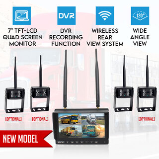"Digital Wireless 7"" Quad Monitor Splitscreen CCD Reversing Camera DVR 12V 24V 2.4GHz"