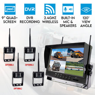 "Digital Wireless 9"" Quad Splitscreen Monitor Reversing Camera CCD 12V 24V 2.4GHz"