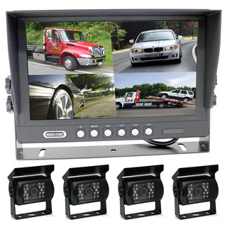 "Elinz 9"" Splitscreen Monitor 4PIN Colour CCD IR Rearview Reversing 4x Cameras Package"