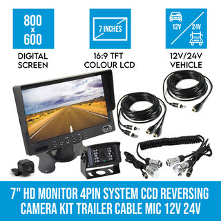 "7"" HD Monitor 4PIN System CCD Reversing Camera Kit Trailer Cable MIC 12V 24V"