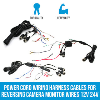 Power Cord Wiring Harness Cables for Reversing Camera Monitor Wires 12V 24V