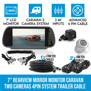 "Elinz 7"" Rearview Monitor Caravan 2 Reversing Camera 4PIN System Kit CCD Trailer cable"
