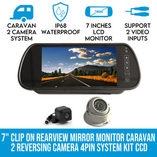 "Elinz 7"" Clip on Rearview Mirror Monitor Caravan 2 Reversing Camera 4PIN System Kit CCD"