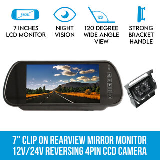 "7"" Clip on Rearview Mirror Monitor 12V/24V Reversing 4PIN CCD Camera Car Caravan"