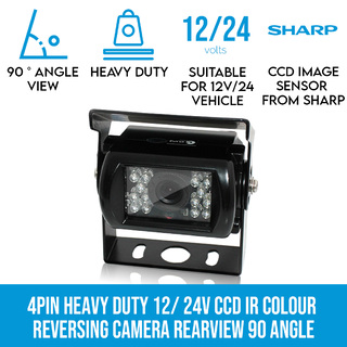 4PIN Heavy Duty 12/ 24V CCD IR Colour Reverse Reversing Camera Rearview 90 angle