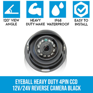 4 PIN Heavy Duty CCD IR Colour Reversing Camera Night Vision 12V 24V Black