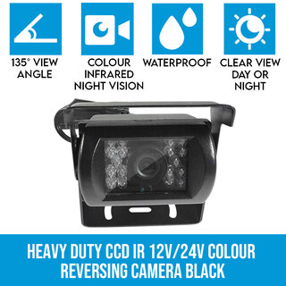 Heavy Duty CCD IR 12V/24V Colour reversing camera BLACK