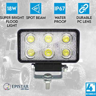 "4"" 18W LED Work Light Rectangular 60° Flood Lamp Fog IP67 Offroad Jeep 12V 24V"