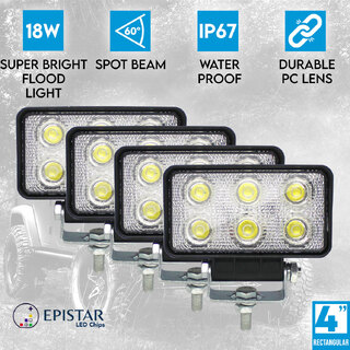 "4x 4"" LED Work Light 72W Rectangular Flood Lamp 60° Fog IP67 Offroad 12V 24V"