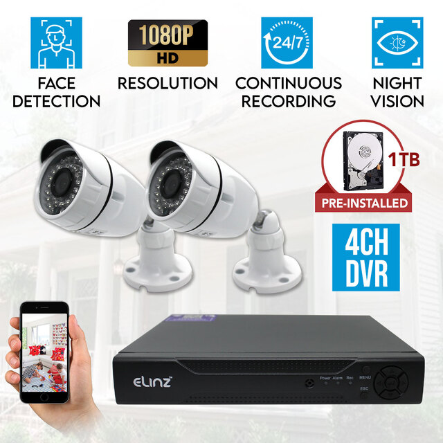 Elinz 4CH CCTV Security 2x Camera System DVR 1080P 5MP Face Detection Video 1TB