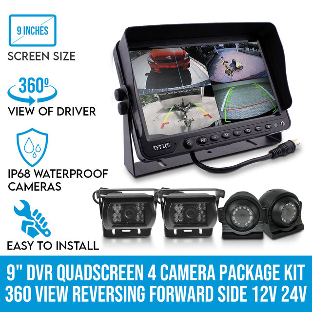 "Elinz Quadscreen 9"" DVR 4 Camera Package Kit 360 View Reversing Forward Side 12V 24V Bus Trucks Caravan"