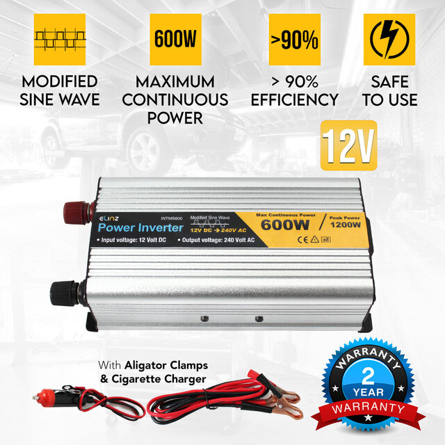 600W / 1200W 12V-240V Power INVERTER Modified Sine Wave Camping Caravan Boat