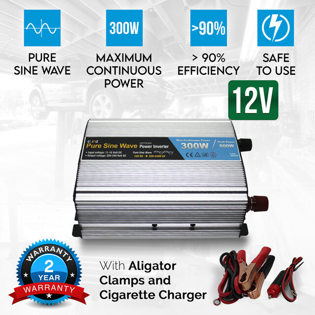 300W / 600W Pure Sine Wave Power Inverter 12V - 240V AUS Plug Car Boat Caravan