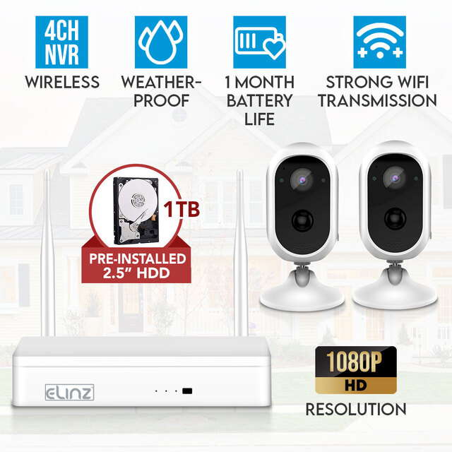 Elinz 4CH Wireless Wire-free Home Battery Security 1080P HD WiFi 2x Camera CCTV System NVR Indoor Outdoor 1TB HDD