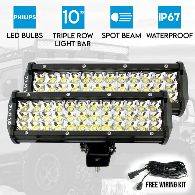 "2x 10"" LED Work Driving Light Bar Philips 3 Rows Spot Offroad 12V 24V Truck 4WD"