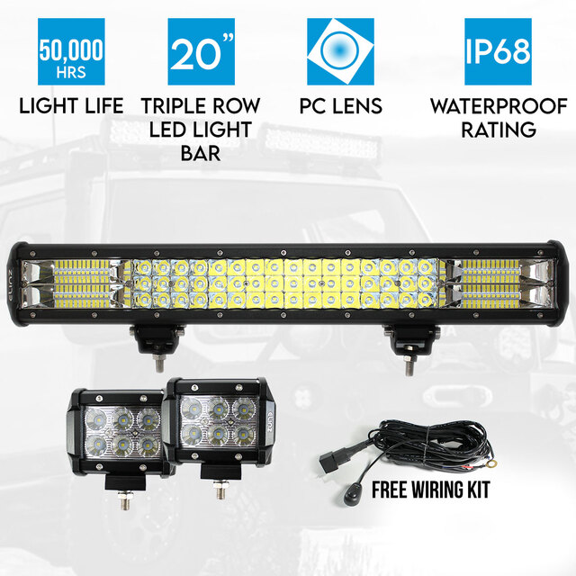 "20"" LED Light Bar Philips 3 Rows bundle 2x 18W 4 inch CREE Worklight Driving"