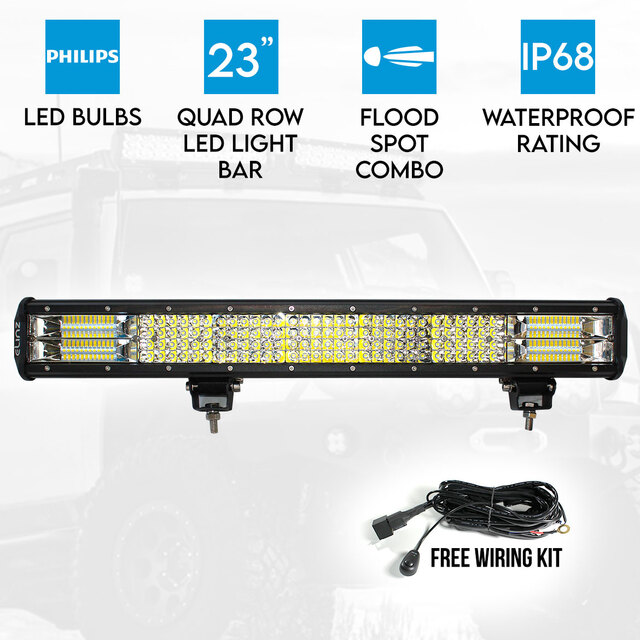 "23"" LED Light Bar 4 Rows Philips Work Driving FLOOD SPOT COMBO IP68 Offroad 4WD"