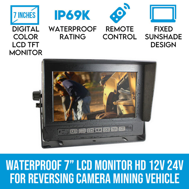 "Elinz Waterproof 7"" LCD Monitor HD 12V 24V for Reversing Camera Mining Vehicle Truck"