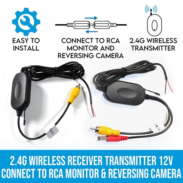 2.4G Wireless Receiver Transmitter 12V Connect to RCA Monitor & Reversing Camera